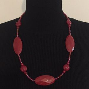 Vintage Red Faux Stone & Beats Necklace